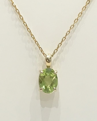 Oval Peridot Yellow Gold Necklace